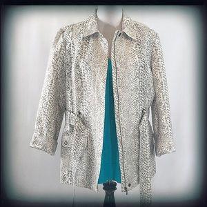 Chico's White Snakeskin Print Jacket Blazer EUC